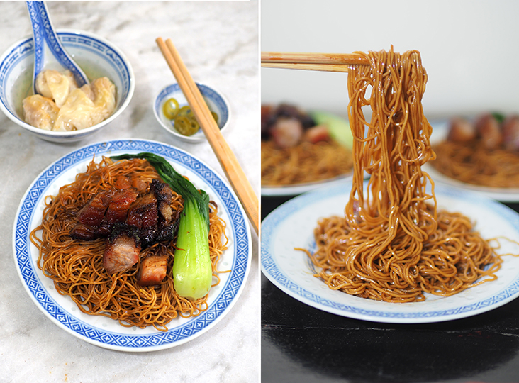 Enjoy springy noodles tossed with fried lard pieces, caramelised thick cut 'char siu' and plump 'wantans' for RM7 (left). The egg noodles have a smooth, springy texture that don't stick to your teeth when bitten into (right)