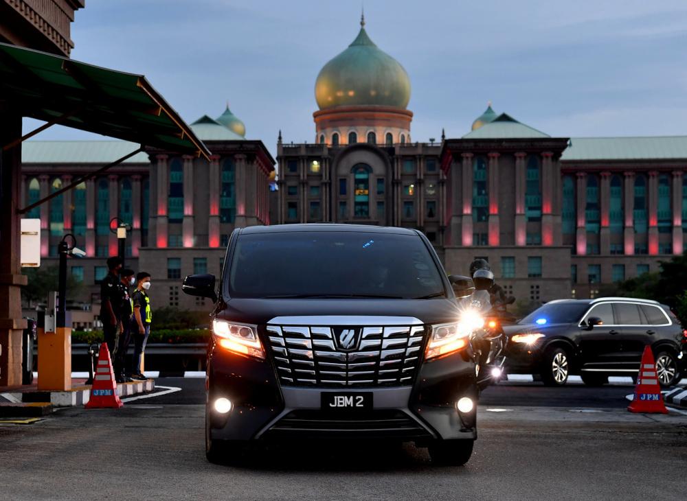 A vehicle carrying Prime Minister Tan Sri Muhyiddin Yassin is seen leaving Perdana Putra, August 11, 2021. ― Bernama pic