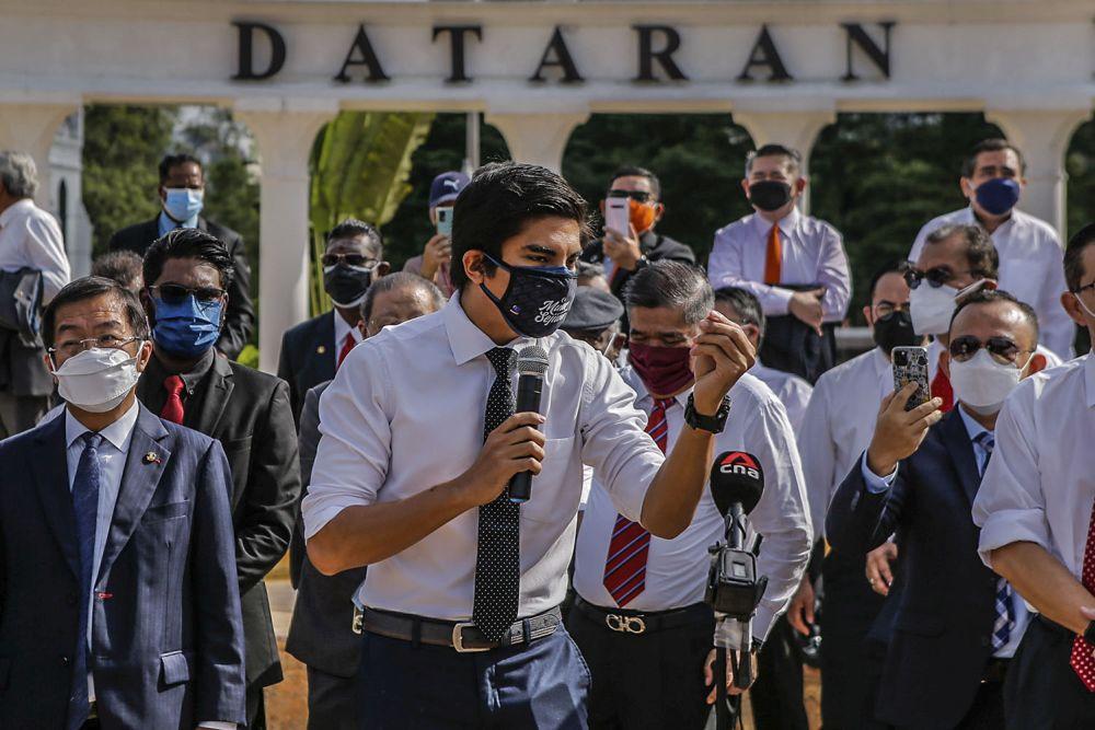 Muar MP Syed Saddiq Syed Abdul Rahman addresses members of the media at the Merdeka Square in Kuala Lumpur August 2, 2021. — Picture by Hari Anggara