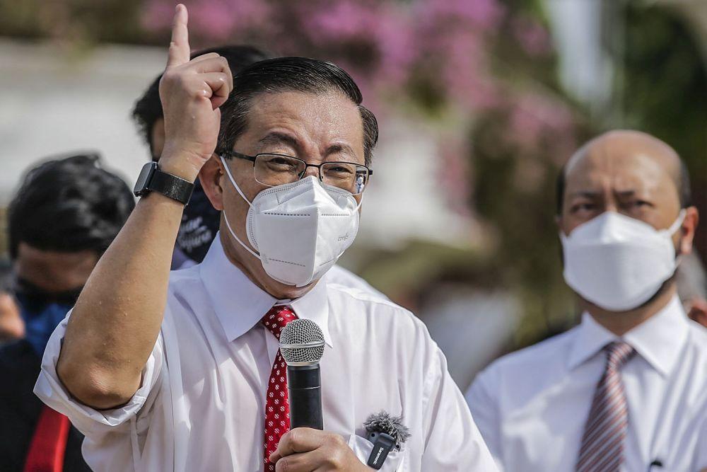 Bagan MP Lim Guan Eng addresses members of the media at the Merdeka Square in Kuala Lumpur August 2, 2021. — Picture by Hari Anggara