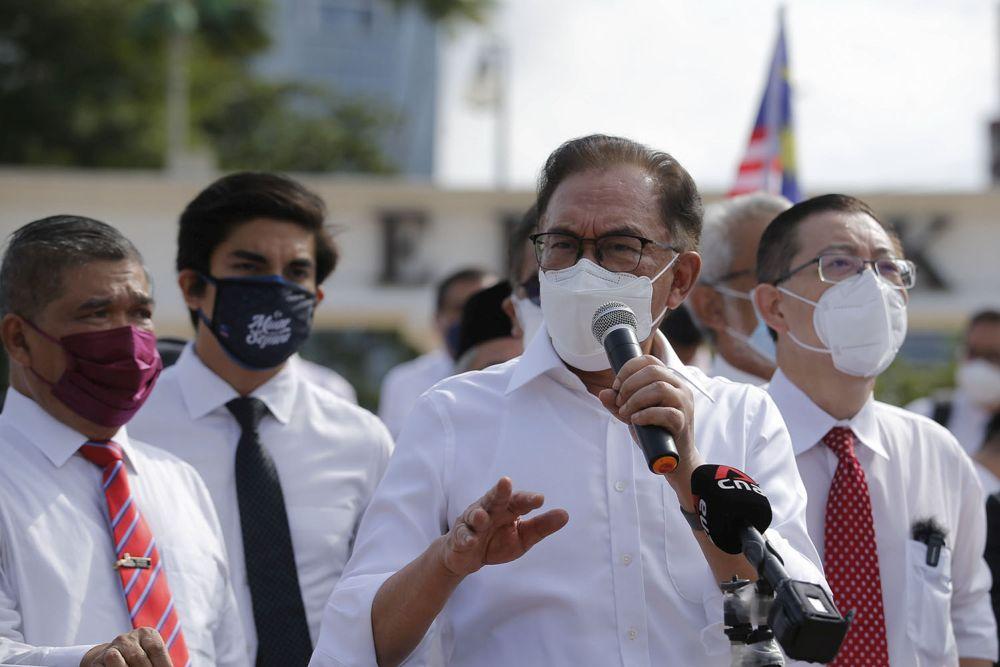 Port Dickson MP Datuk Seri Anwar Ibrahim addresses members of the media at the Merdeka Square in Kuala Lumpur August 2, 2021. — Picture by Hari Anggara