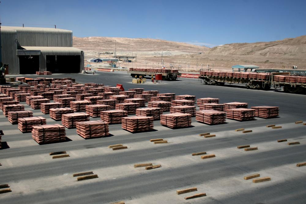 Sheets of copper cathode are pictured at BHP Billiton's Escondida, the world's biggest copper mine, in Antofagasta, Chile March 31, 2008. — Reuters pic