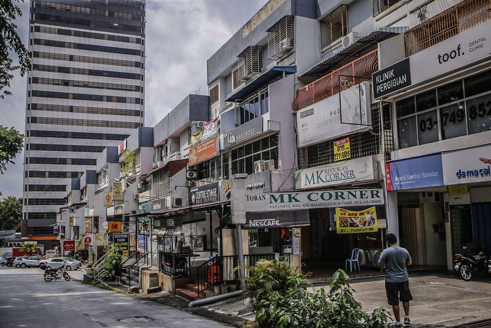 A general view of shoplots in Taman Desa, Kuala Lumpur August 11, 2021. ― Pictures by Hari Anggara