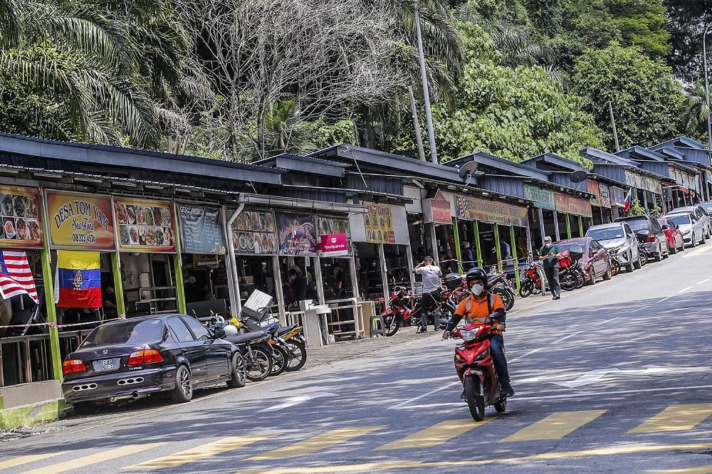 A row of shops along Taman Desa.