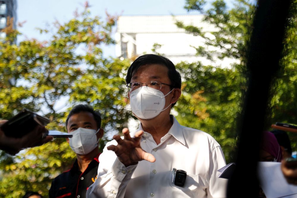 Penang Chief Minister Chow Kon Yeow addresses members of the media during a mass screening exercise in Taman Manggis, George Town August 12, 2021. — Picture by Sayuti Zainudin