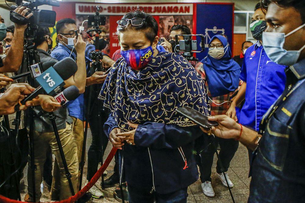 Datuk Seri Azalina Othman Said speaks to members of the media at Umno's headquarters at Menara Dato Onn in Kuala Lumpur August 17, 2021. ― Picture by Hari Anggara