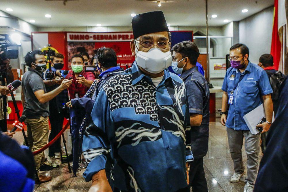Datuk Seri Tajuddin Abdul Rahman is pictured at Umno's headquarters at Menara Dato Onn in Kuala Lumpur August 17, 2021. ― Picture by Hari Anggara