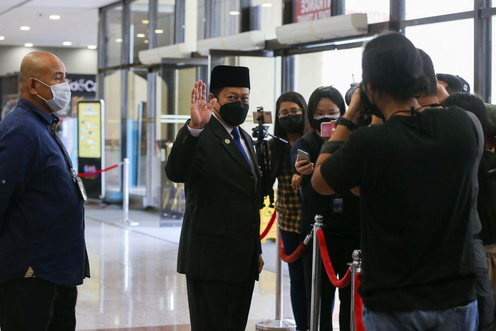 Umno secretary-general Datuk Seri Ahmad Maslan speaks to reporters at Menara Dato' Onn in Kuala Lumpur August 19, 2021. — Picture by Yusof Mat Isa