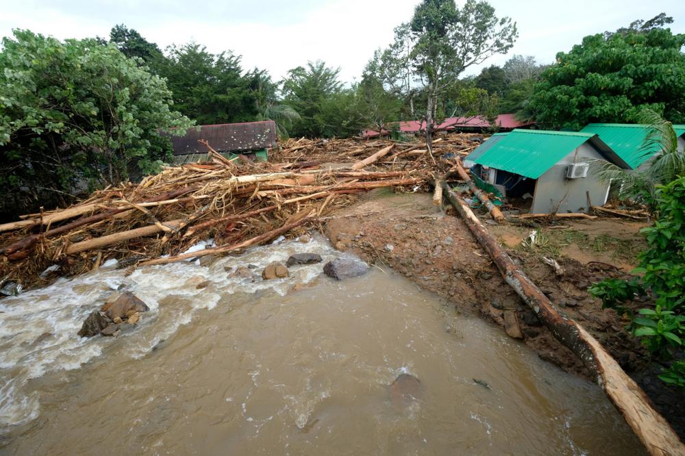 Alang Kenari Resort is pictured after yesterday's water surge in Titi Hayun, Yan, August 19, 2021. — Bernama pic