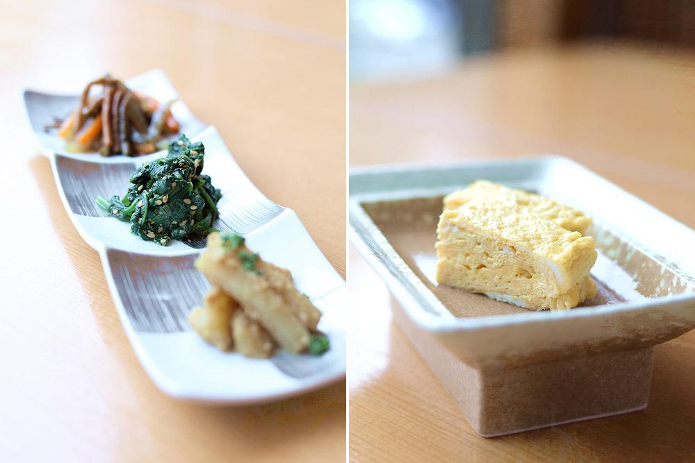 'Kobachi', vegetable side dishes (left), and 'tamagoyaki', rolled Japanese omelette (right).