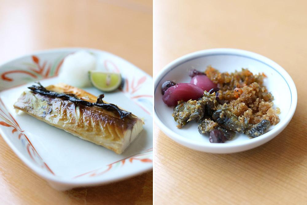 'Yakizakana' or grilled fish (left). 'Tsukemono' or pickled vegetables (right).