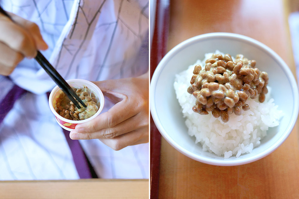 Mix some 'natto' into your hot steamed rice.