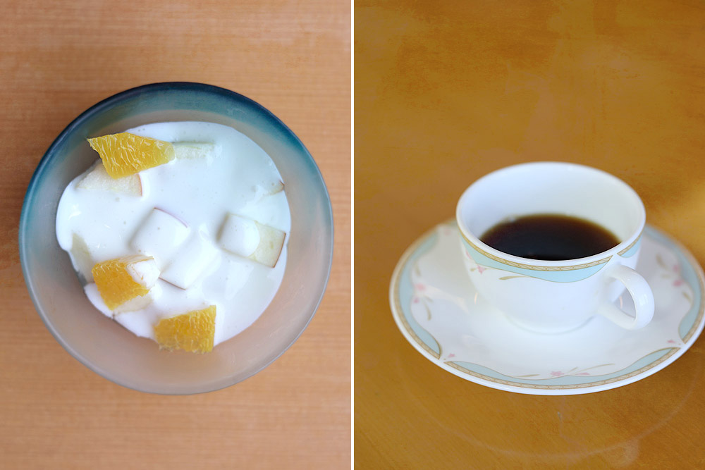 Fresh fruits with milk (left) and strong black coffee (right).