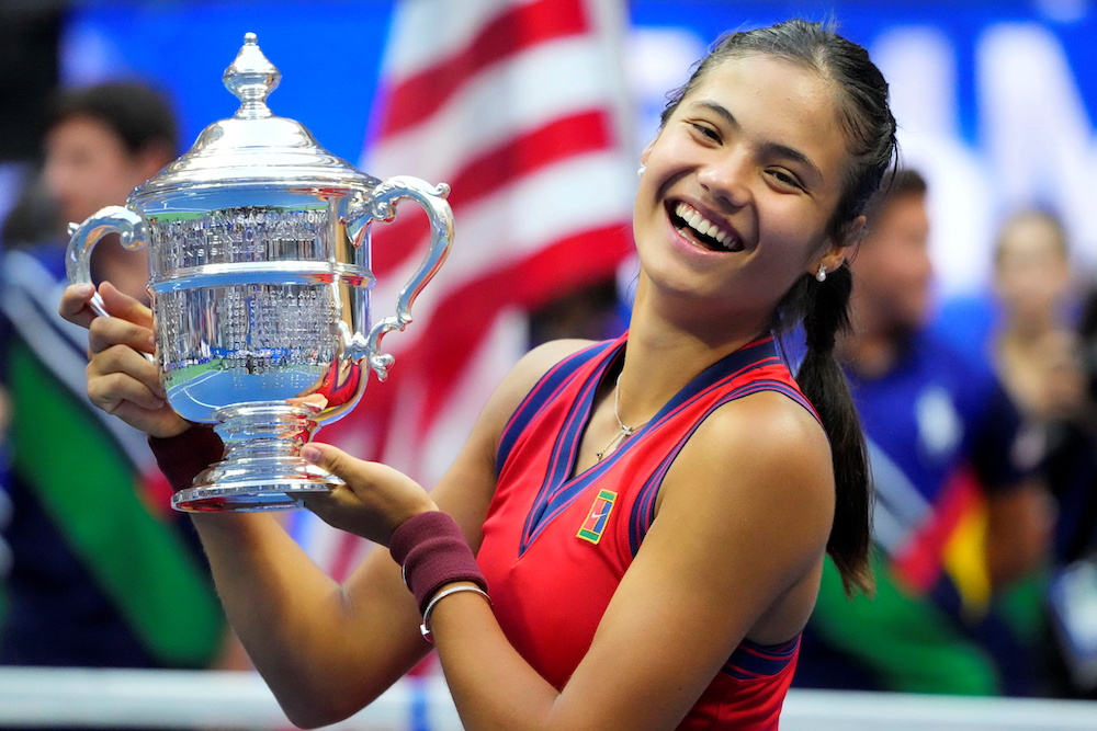 File photo of Emma Raducanu of Great Britain celebrating with the championship trophy in the women's singles final of the 2021 US Open tennis tournament. — Robert Deutsch-USA TODAY Sports  pic