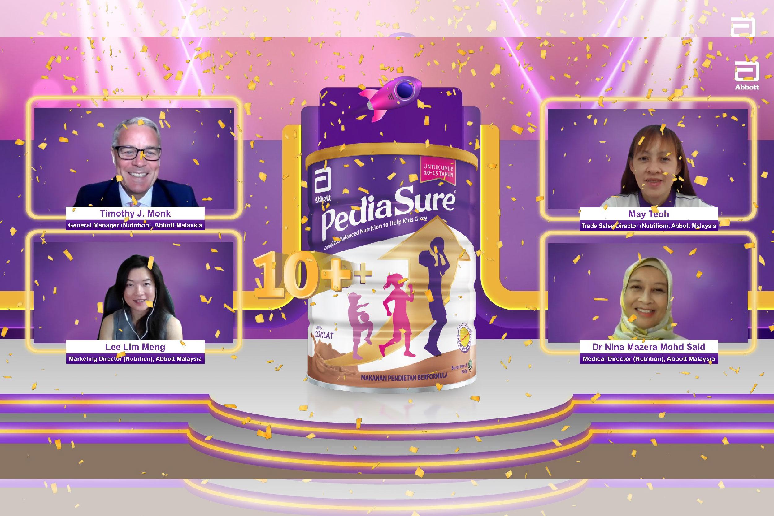全球医疗保健行业领导者雅培(Abbott)于周二(14日)推出了PediaSure 10+,该产品是雅培首次特别针对年龄介于10至15岁的孩子而设的配方。-雅培提供-