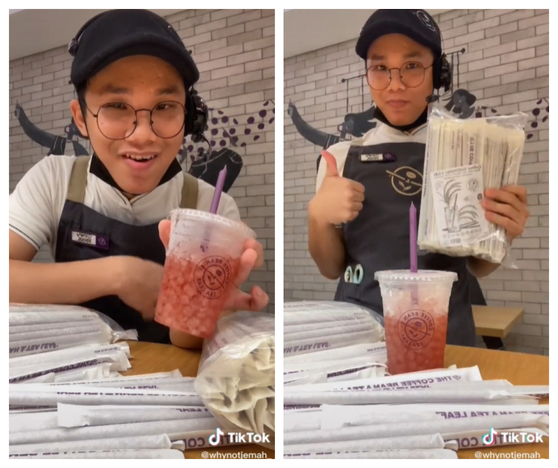 Azmey earned praise from social media users for cleverly promoting the brand through his tutorial rice straw video. — Screengrab via tiktok/AzmeyZainal