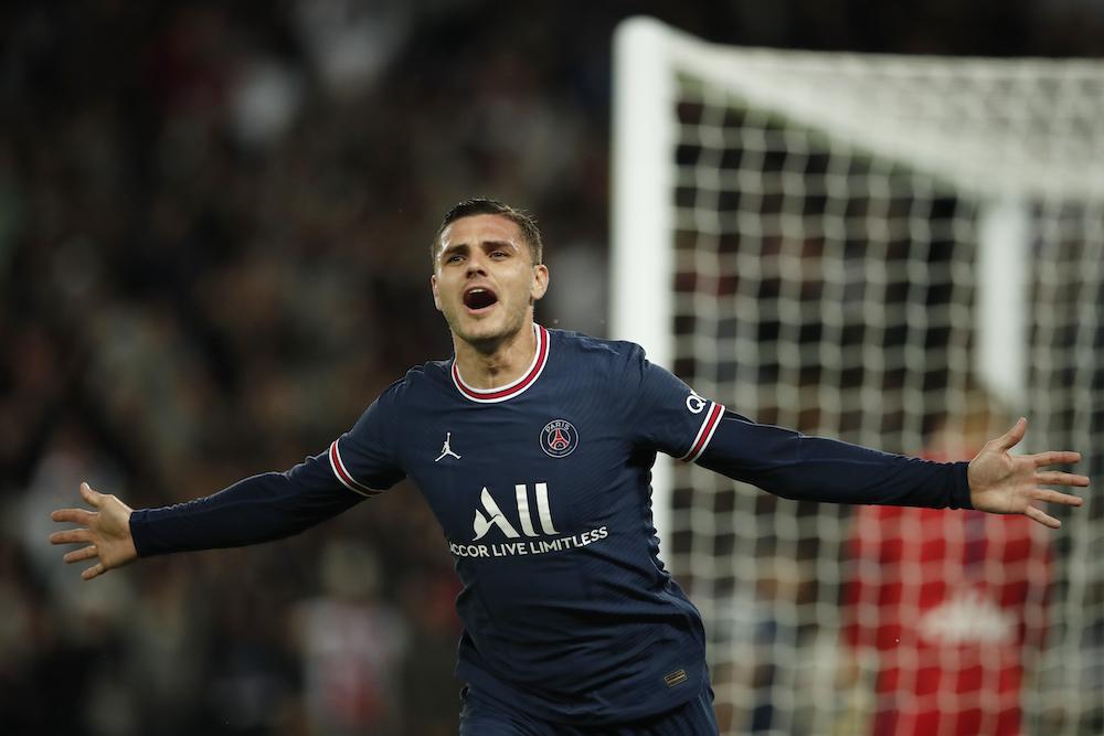 Paris St Germain's Mauro Icardi celebrates scoring their second goal, September 19, 2021. — Reuters pic