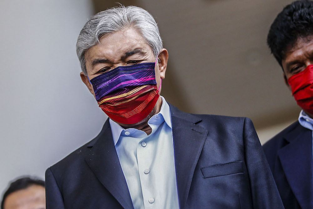 Former deputy prime minister Datuk Seri Ahmad Zahid Hamidi, is pictured at the Kuala Lumpur High Court Complex, September 20, 2021. ― Picture by Hari Anggara
