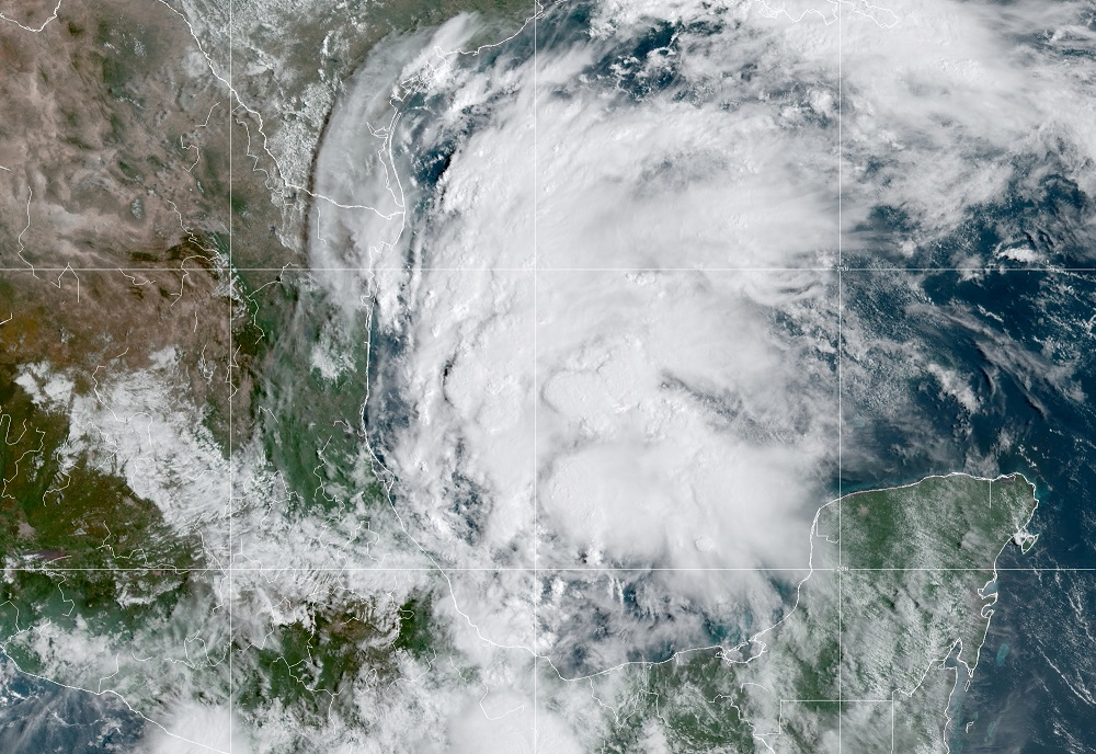 A satellite image shows Tropical Storm Nicholas in the Gulf of Mexico September 12, 2021. — Handout by NOAA via Reuters