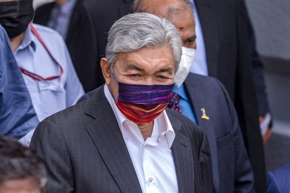 Former deputy prime minister Datuk Seri Ahmad Zahid Hamidi at the Kuala Lumpur Court Complex September 7, 2021. — Picture by Firdaus Latif