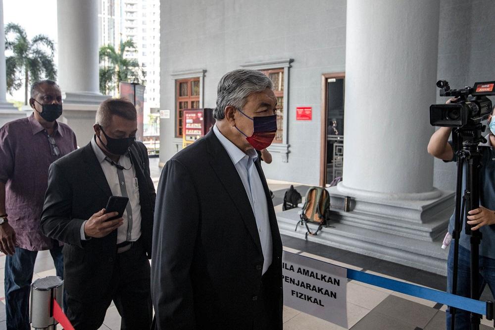 Datuk Seri Ahmad Zahid Hamidi arrives at the Kuala Lumpur Court Complex September 8, 2021. — Picture by Firdaus Latif
