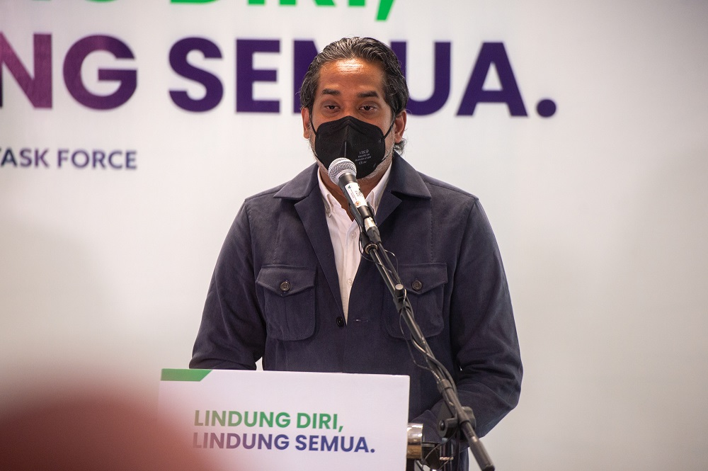 Health Minister Khairy Jamaluddin speaks at a press conference in Putrajaya September 8, 2021. — Picture by Shafwan Zaidon