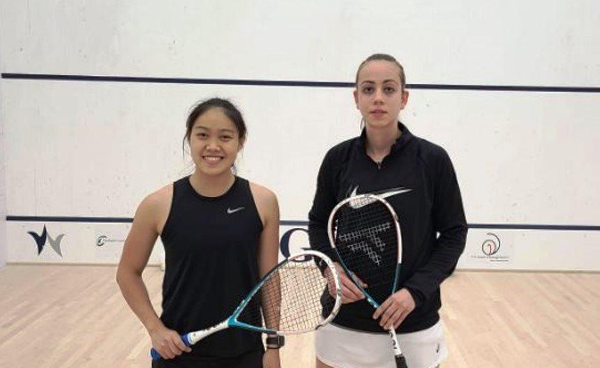 黎汶如(左)决赛挫法国2号种子玛丽(右),夺下GWC壁球挑战者赛冠军。-摘自Squashsite-