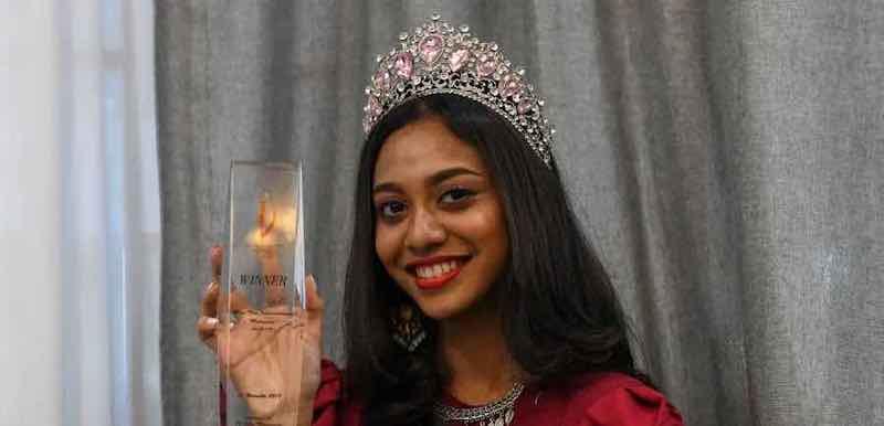 INTI College Penang student Dheper Reshaa Teh shows off her Miss Teen International Malaysia 2018/2019 in Bukit Mertajam September 26, 2021. — Bernama pic