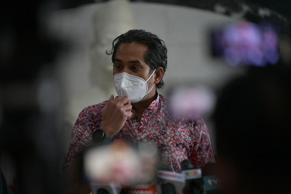 Health Minister Khairy Jamaluddin speaks at a news conference at Wisma Bapa Malaysia in Petra Jaya, Kuching September 26, 2021. — Bernama pic