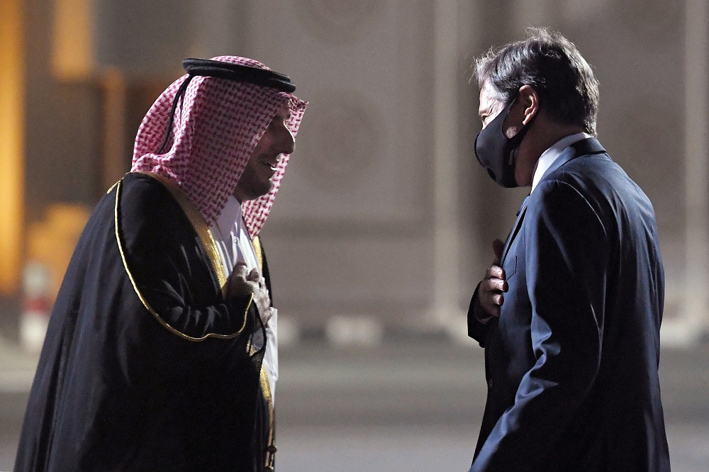 US Secretary of State Antony Blinken is welcomed upon his arrival by Qatar's Ministry of Foreign Affairs Director of Protocol Ambassador Ibrahim Fakhroo, at Old Airport in Doha, Qatar September 6, 2021. ― Olivier Douliery/Pool via Reuters