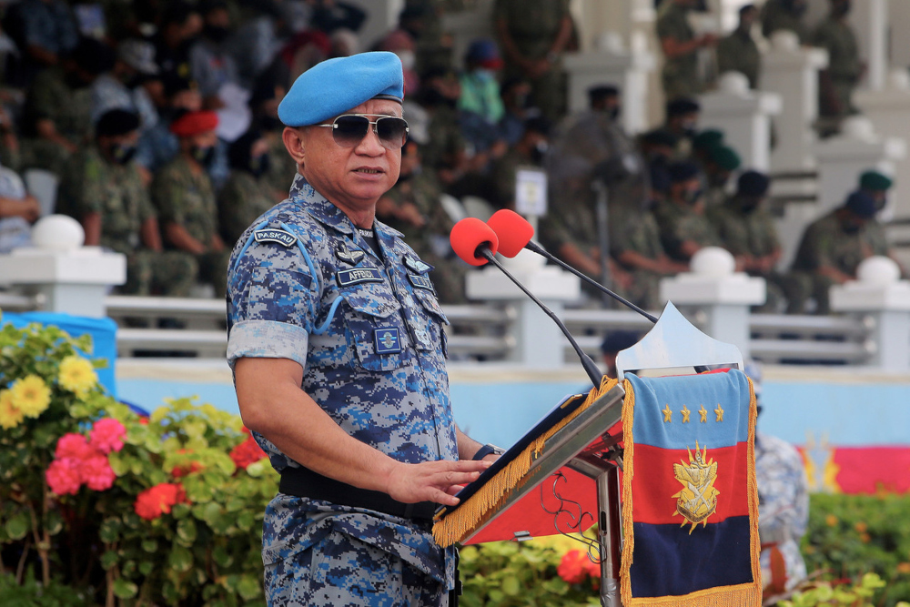 Chief of Defence Force Gen Tan Sri Affendi Buang delivers a speech in conjunction with the 88th Armed Forces Day in Port Dickson, September 22, 2021. — Bernama pic