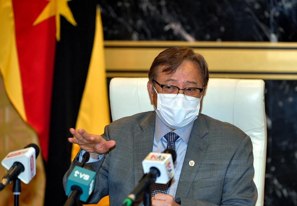 Sarawak Chief Minister Datuk Patinggi Abang Johari Openg speaks during a press conference at Wisma Bapa Malaysia, Petra Jaya September 9, 2021. — Bernama pic