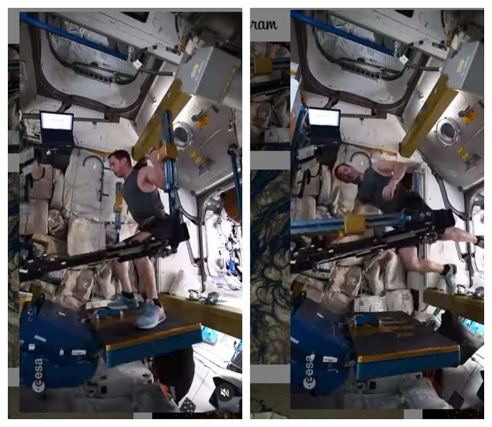 Pesquet doing his squats that has left many impressed at his discipline to keep fit in space. ― Pictures via instagram/thom_astro