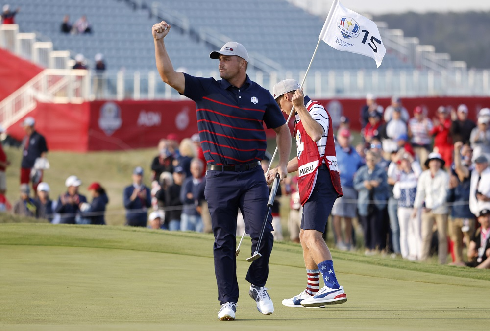 Team USA's Bryson DeChambeau delivered an epic tee shot at the dogleg par-5 fifth hole at Whistling Straits, playing at 581 yards, September 24, 2021. ― Reuters pic