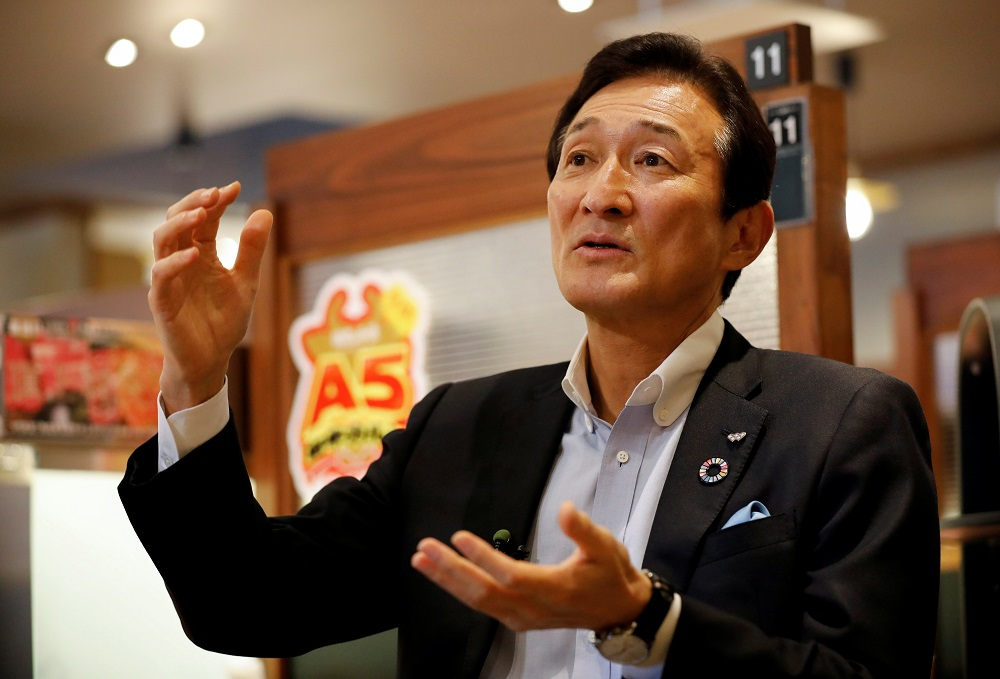 Miki Watanabe, Chairman and CEO of Watami Co. speaks during an interview with Reuters at the company's yakiniku barbecue restaurant named 'Yakiniku no Watami', in Tokyo, Japan September 15, 2021. ― Reuters pic