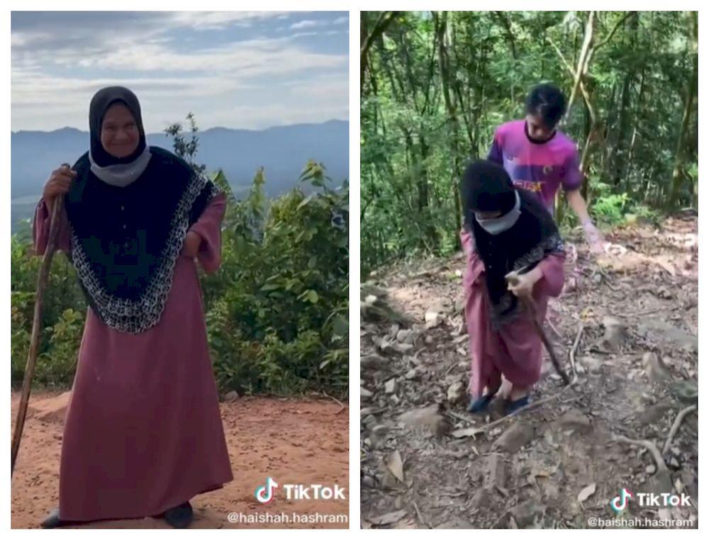 A video of Wan Zaharah climbing Bukit Panau has gone viral on TikTok. — Screengrab via TikTok/haishah.hashram