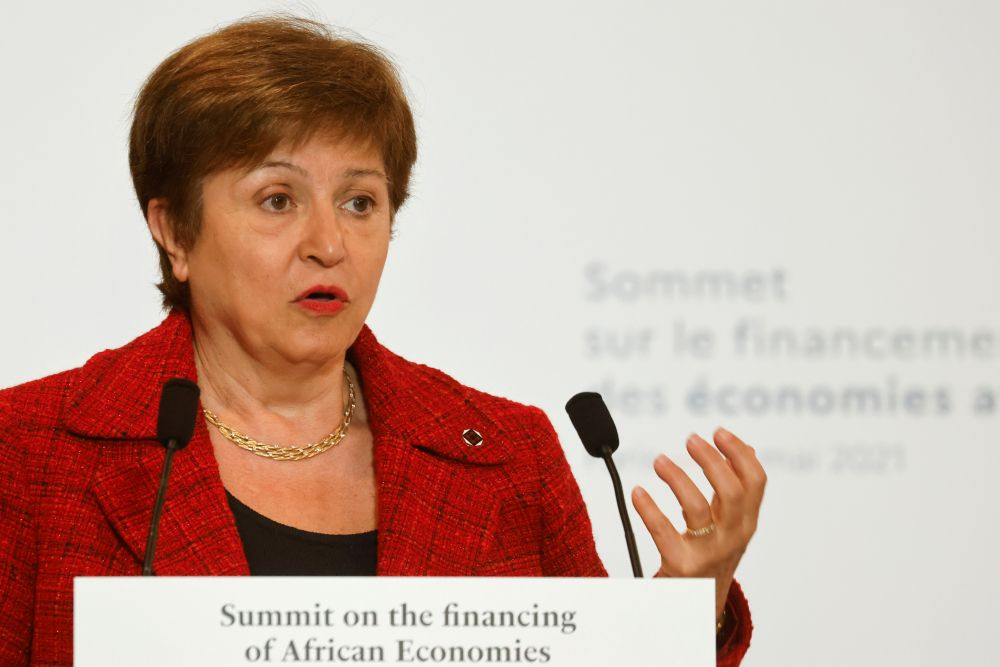 International Monetary Fund Managing Director Kristalina Georgieva speaks during a joint news conference at the end of the Summit on the Financing of African Economies in Paris May 18, 2021. — Reuters pic