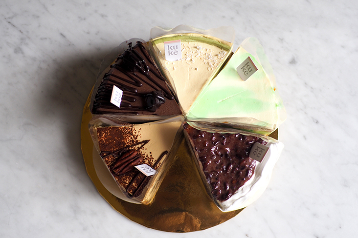 The cakes are sold by the slice so you can get to sample the different flavours.