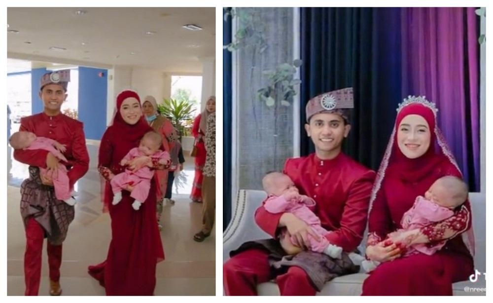 Nureen Maimah Mahyudin and her husband decked out in their wedding attire while cradling their twin babies. — Screen capture via TikTok/nreennaimaaa