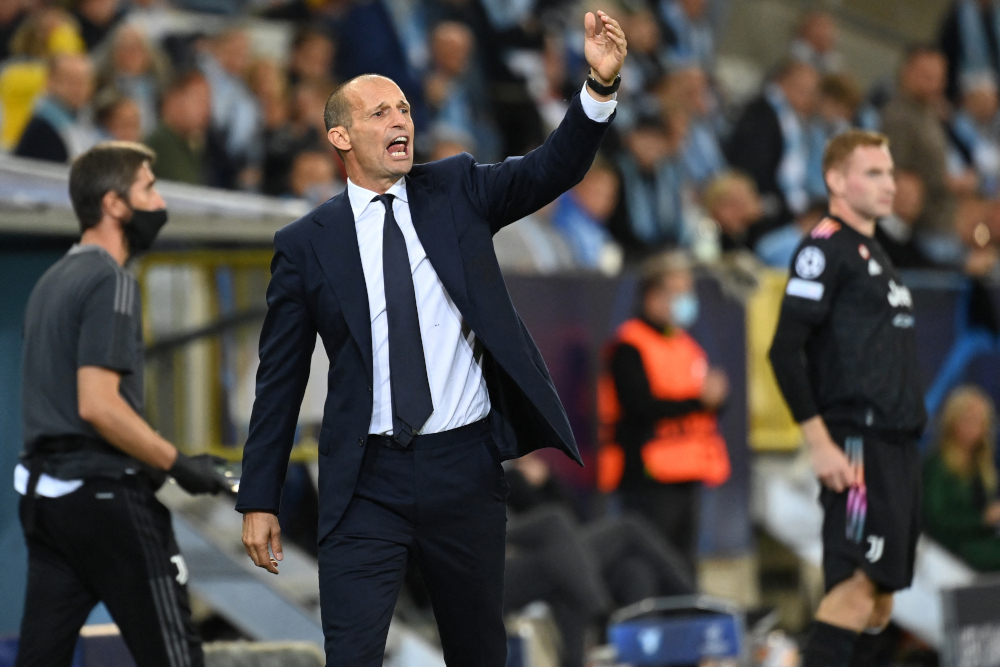 Juventus' Italian coach Massimiliano Allegri reacts from the sidelines during the Uefa Champions League group H football match Malmo FF vs Juventus FC in Malmo, Sweden, September 14, 2021. — AFP pic