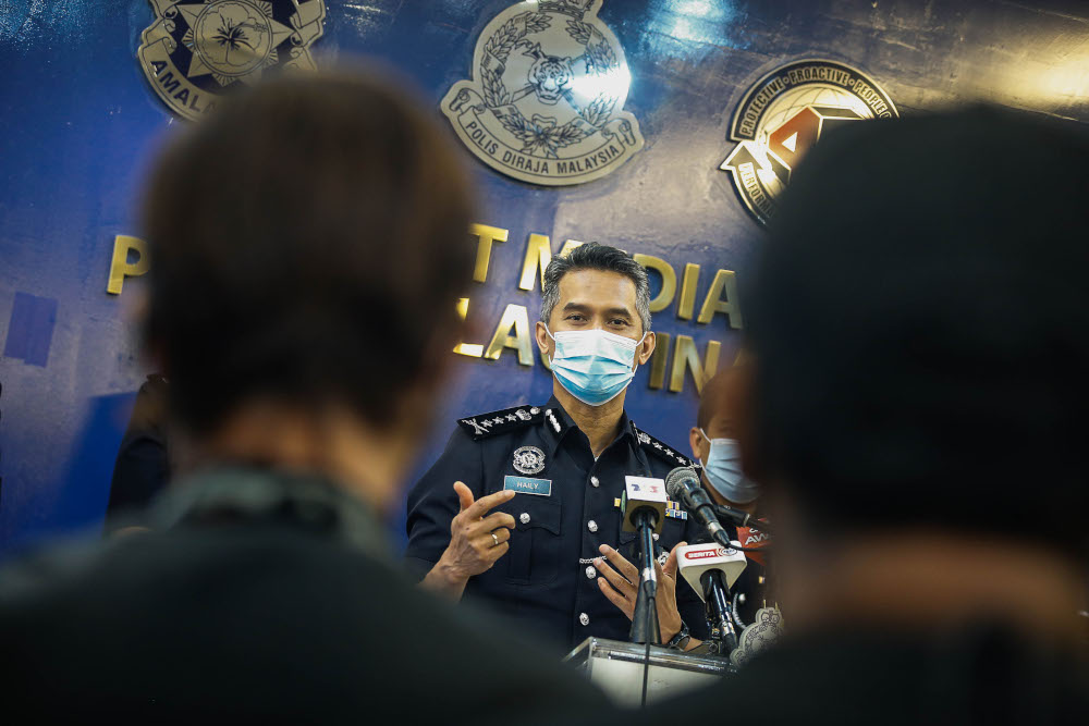 Penang police chief Datuk Mohd Shuhaily Mohd Zain speaks to the press about the standard operating procedure (SOP) during the phase 2 at Penang police contingent headquarters, September 14, 2021. — Picture by Sayuti Zainudin