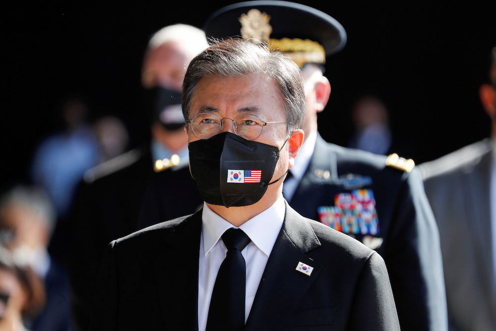 File photo of South Korea's President Moon Jae-in attending the first joint repatriation ceremony for Korean War remains at Joint Base Pearl Harbor-Hickam near Honolulu, Hawaii, US September 22, 2021. — Reuters pic