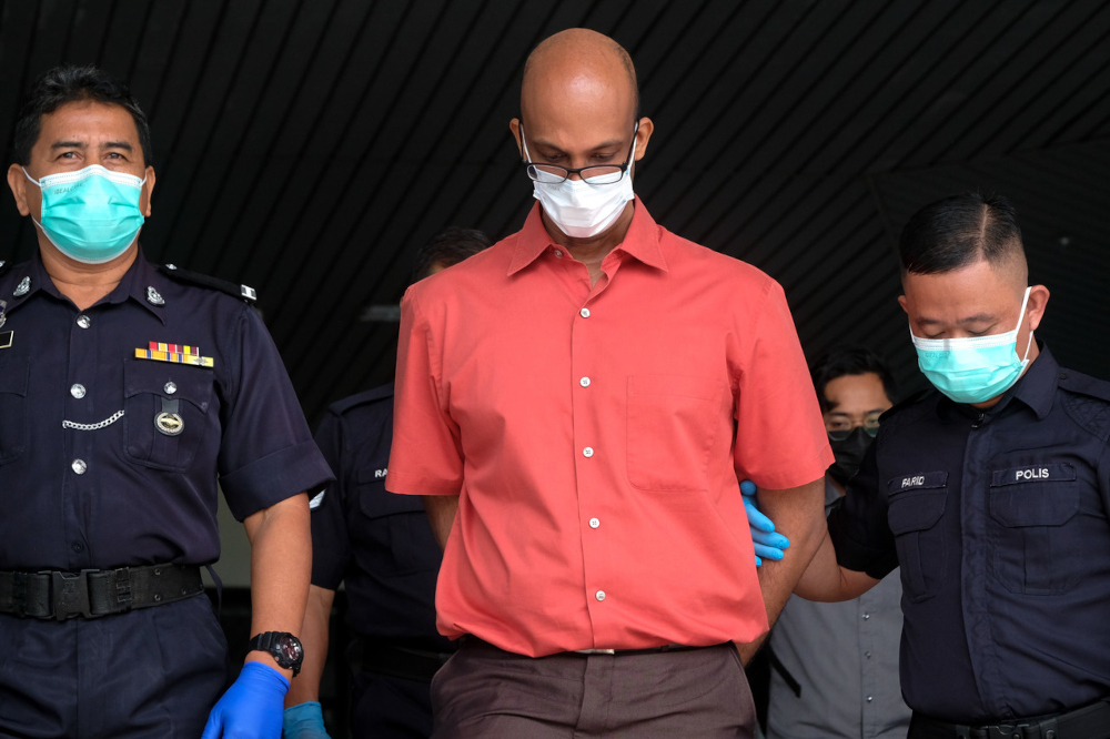 Prajiv Lionel Proctor was today charged in the Ayer Keroh Sessions Court for making and posting disparaging remarks against the royal Rulers and Islamic religion on Facebook. — Bernama pic