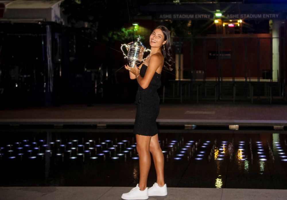 Britain's Emma Raducanu poses with the US Open tennis championship trophy at the USTA Billie Jean King National Tennis Centre in New York September 11,2021. — Picture by Miera Zulyana