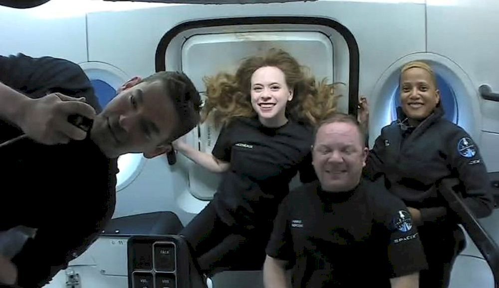 Inspiration4 crew Jared Isaacman, Sian Proctor, Hayley Arceneaux, and Chris Sembroski, seen on their first day in space in this handout photo released on September 17, 2021. — SpaceX/Handout via Reuters