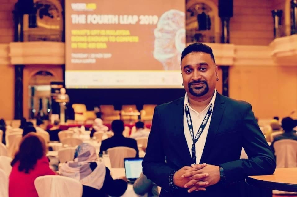 Sritharan Vellasamy, chief executive officer of Wordlabs Global Sdn Bhd, at the Fourth Leap Conference 2019 hosted by his company in Kuala Lumpur. — Picture courtesy of Sritharan Vellasamy