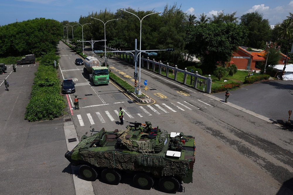 A 'Clouded Leopard' armoured vehicle is seen on a road during the annual Han Kuang military drill in Tainan, Taiwan, September 14, 2021. ― Reuters pic