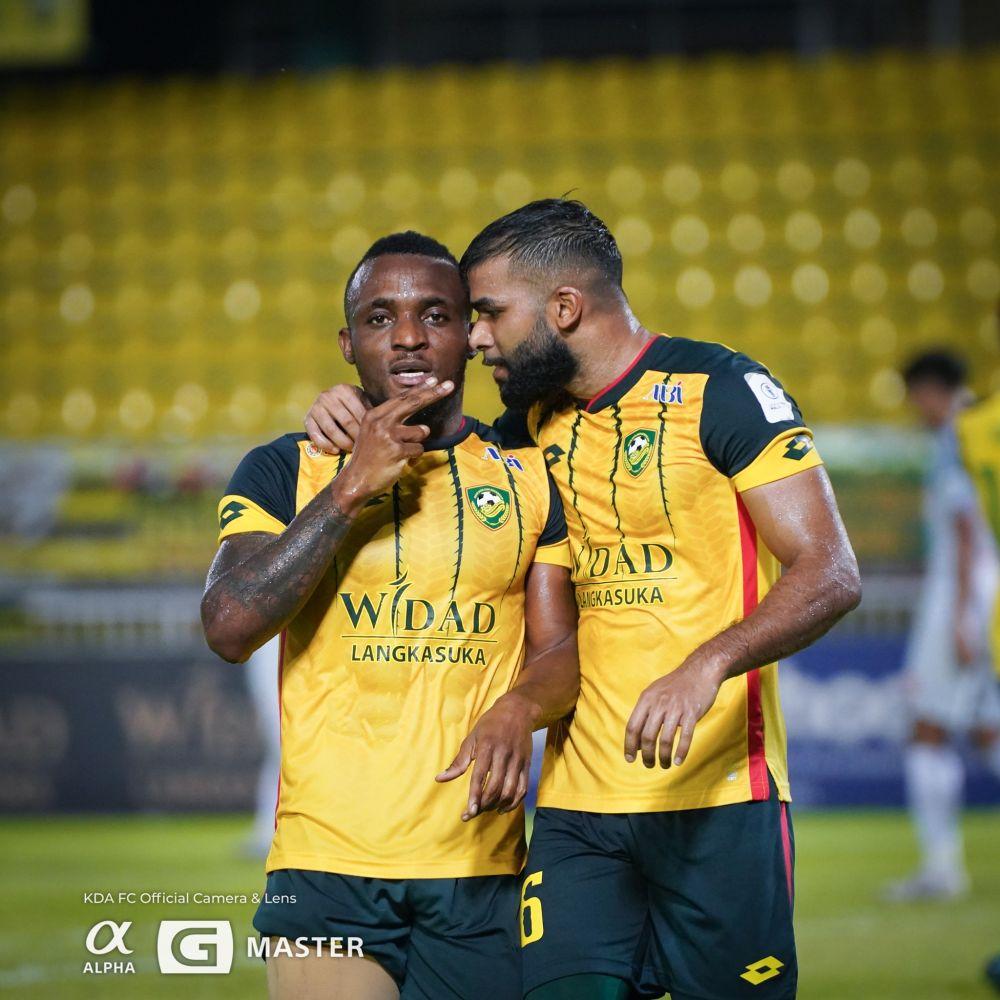 Kedah striker Tchetche Kipre (left) celebrates after scoring against Melaka United at the Darul Aman Stadium in Alor Setar September 12, 2021. — Picture via Facebook