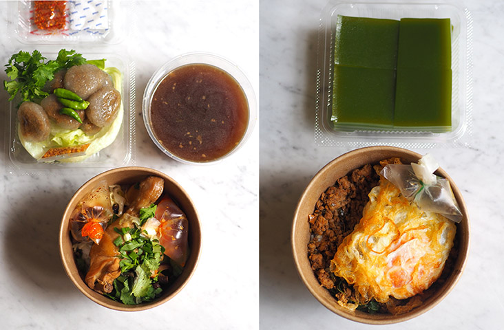For the noodle dish, just heat the soup and pour it over the noodles with the different toppings (left).  You can also enjoy the 'pad krapow' in its take-out container for on-the-go meals (right)