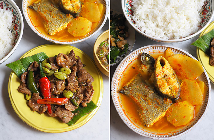 Dine on 'muu pad gapi' or tender slices of pork sautéed with 'petai' and shrimp paste (left).  It's rare to get this 'Geng leuang pla gab Nor mai dong' which is a sour yellow curry that has a perfectly poached sea bass paired with fresh bamboo shoots (right)